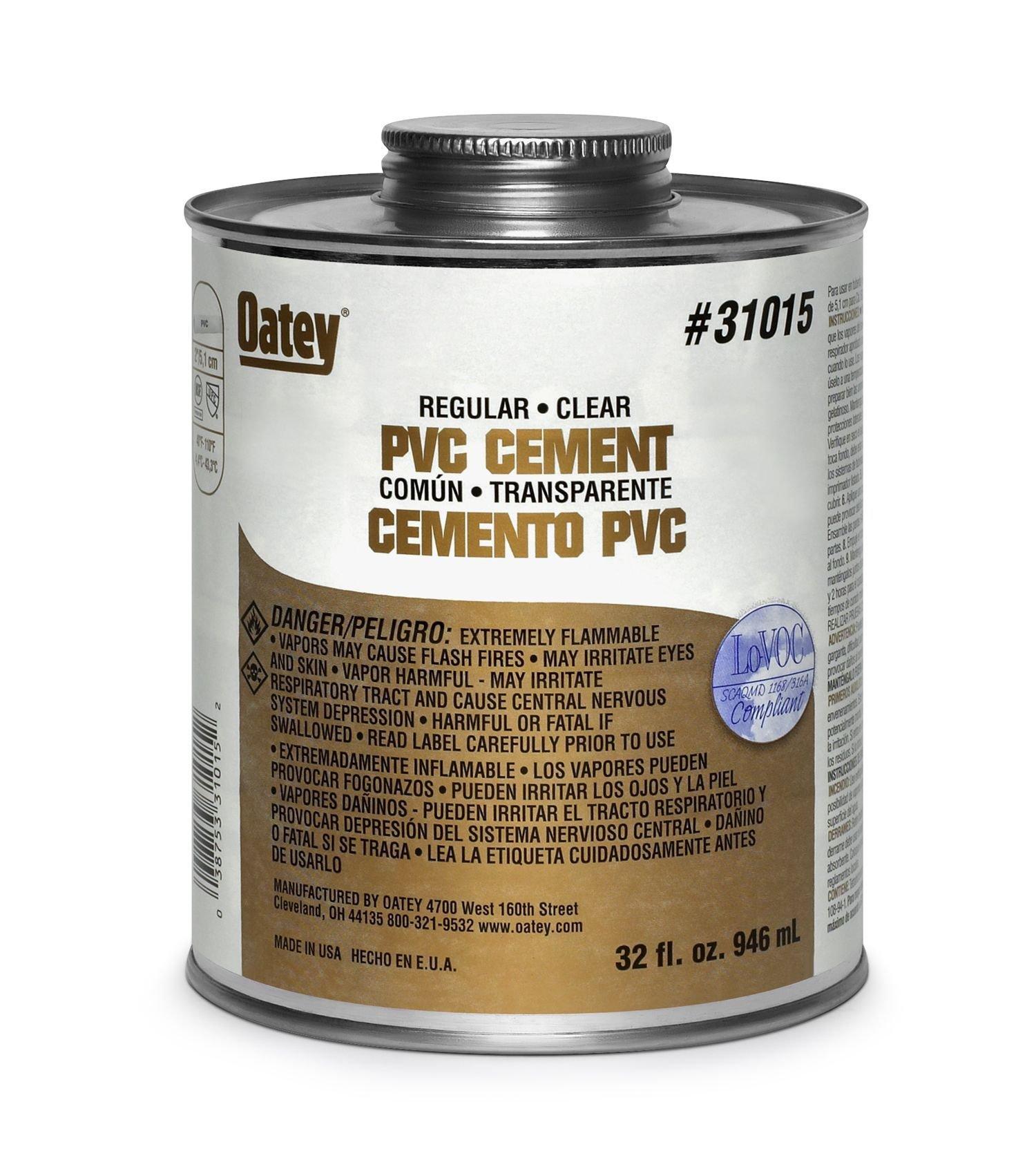 Oatey 31016 PVC Regular Cement, Clear, Gallon