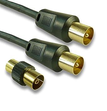 C4 A ® 10 M – Cable de antena de TV macho Plomo/Conectores Chapados