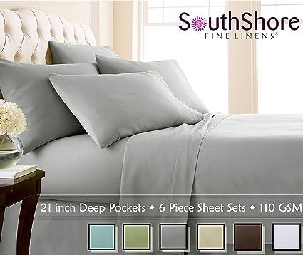 Gentil Southshore Fine Linens Extra Deep Pocket Sheet Set, Queen, 6 Piece, Steel  Gray