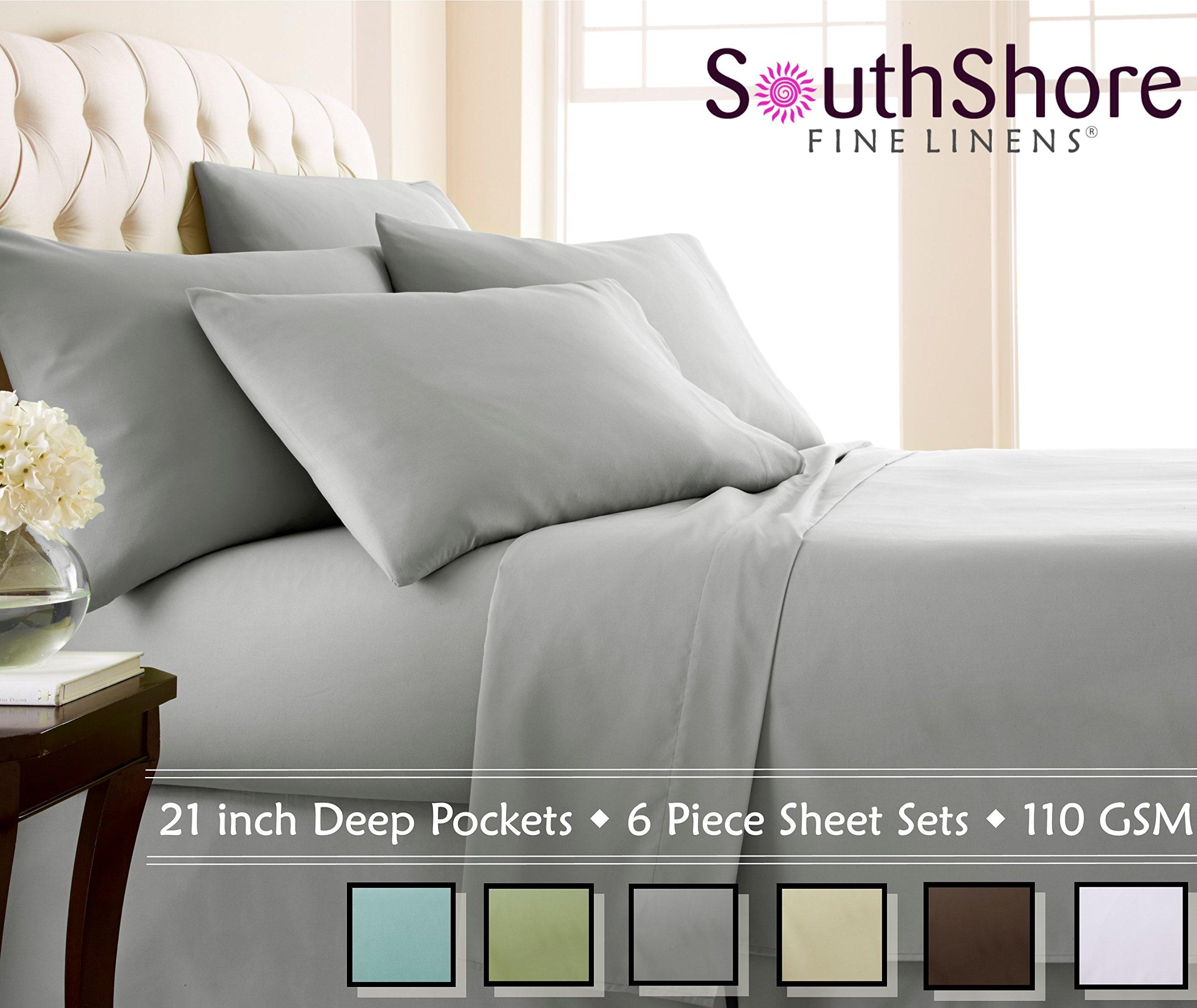 Southshore Fine Linens Extra Deep Pocket Sheet Set, Queen, 6 Piece, Steel Gray