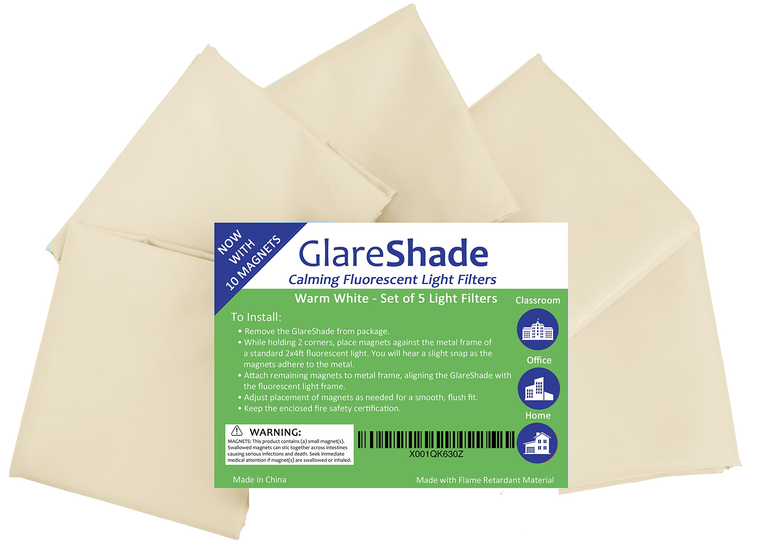 GlareShade Fluorescent Light Filter Diffuser Covers with 10 Magnets for a Flush Fit (5 pack; warm white). Eliminate Harsh Glare at Work and School while Improving Focus and Classroom Management.