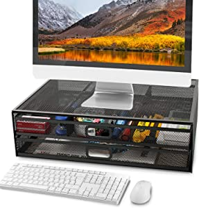 Monitor Stand Riser with Dual Pull Out Storage Drawer - Metal Mesh Desk Organizer with Drawer, Drawer, Office Supply for Computer, PC, Laptop, Printer, Notebook, iMac