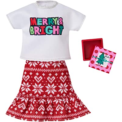 Barbie Holiday Fashion Assortment of Doll Clothes, Complete Outfit Dolls with White Top with Merry Bright Graphic, Red Wintry Print Skirt & Gift, Gift for 3 to 8 Year Olds: Toys & Games