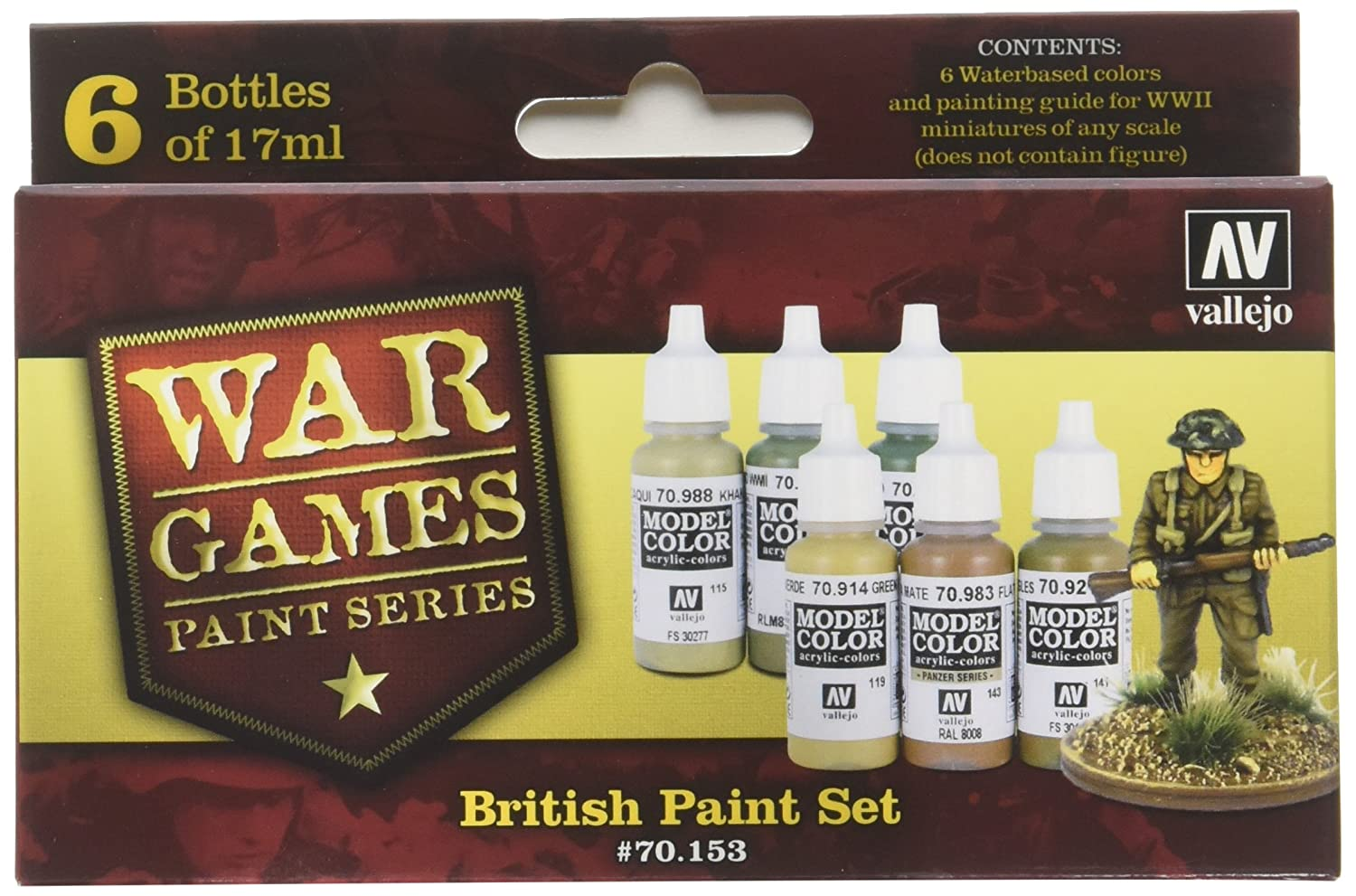 Vallejo Model Color WWII Wargames British Paint Set (Set of 6) Acylicos Vallejo VJ70153