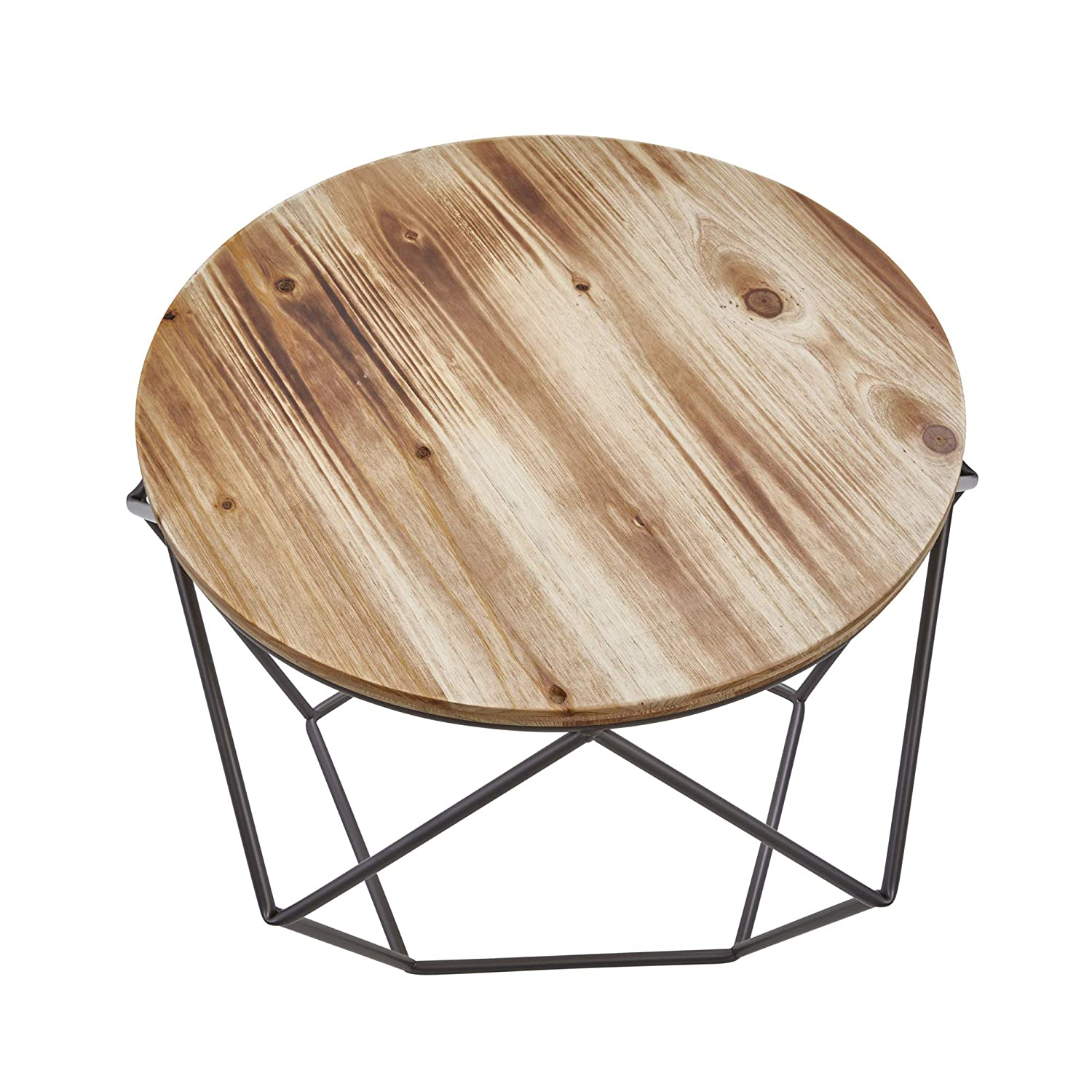 Brown Metal Sagebrook Home 11082 Metal Accent Table W// Wood Top 23 x 23 x 16 Inches