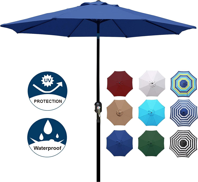 Blissun 9' Outdoor Aluminum Patio Umbrella, Striped Patio Umbrella, Market Striped Umbrella with Push Button Tilt and Crank (Navy Blue)