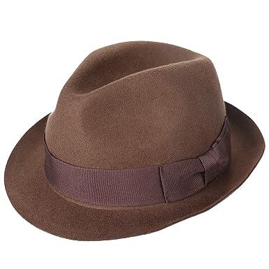 7bfd420157f487 Janetshats Unisex Wool Trilby Felt Fedora Hats Short Brim Panama Jazz  Bowler Hat 57CM