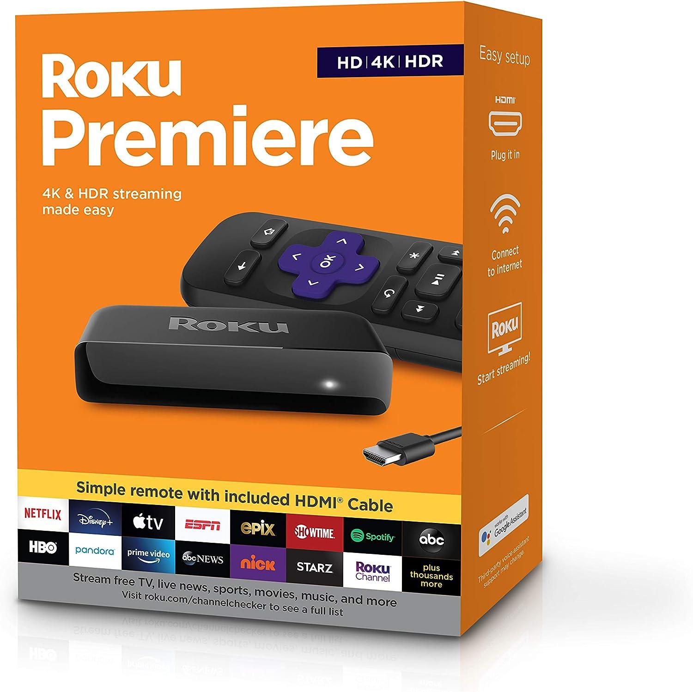 Amazon.com: Roku Premiere | Reproductor multimedia de transmisión  HD/4K/HDR, control remoto simple y cable HDMI Premium: Electronics
