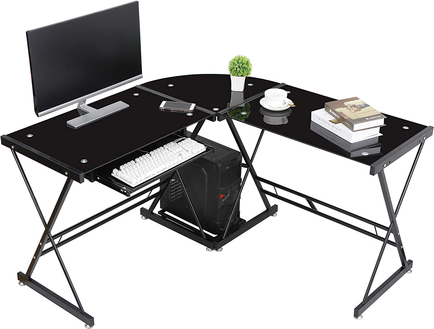 GreenForest L Shaped Computer with Tempered Glass Top PC Laptop Table for Home Office Study Gaming Workstation,Black
