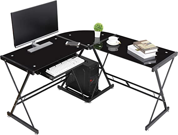 ZenStyle Modern L-Shape Corner Computer Desk Home Office PC Laptop Table Multipurpose Gaming Workstation with CPU Stand/Solid Steel Frame/Toughened Glass Desktop