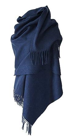 b18b53637bd3 Echarpe étole chale en laine et cachemire grande épaisse et chaude (BLEU  MARINE)