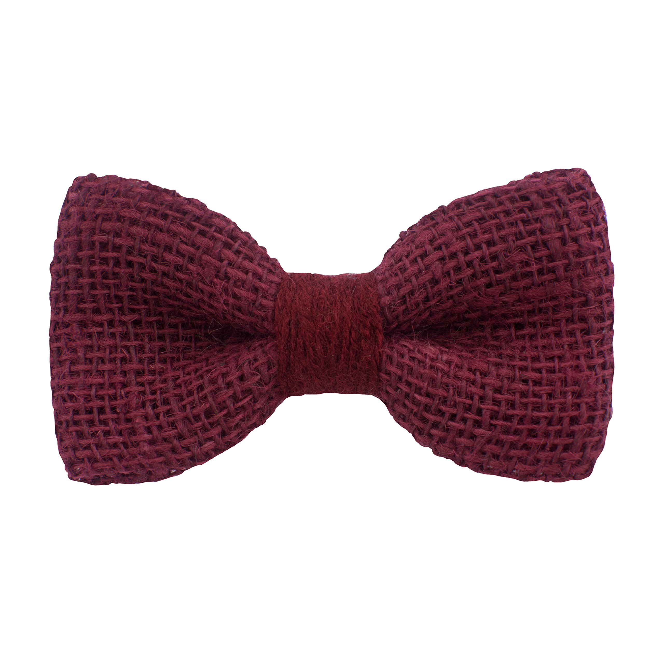 Bow Tie House Rustic Pre-Tied Bow Tie in 100% Burlap Hessian (Small, Dark Red)