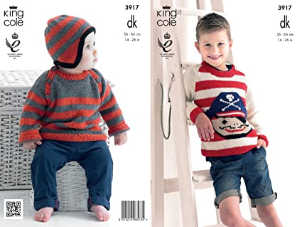 b6480dbe7 Image Unavailable. Image not available for. Colour  King Cole Boys Double  Knitting DK Pattern for Long Sleeved Striped Pirate Sweater ...