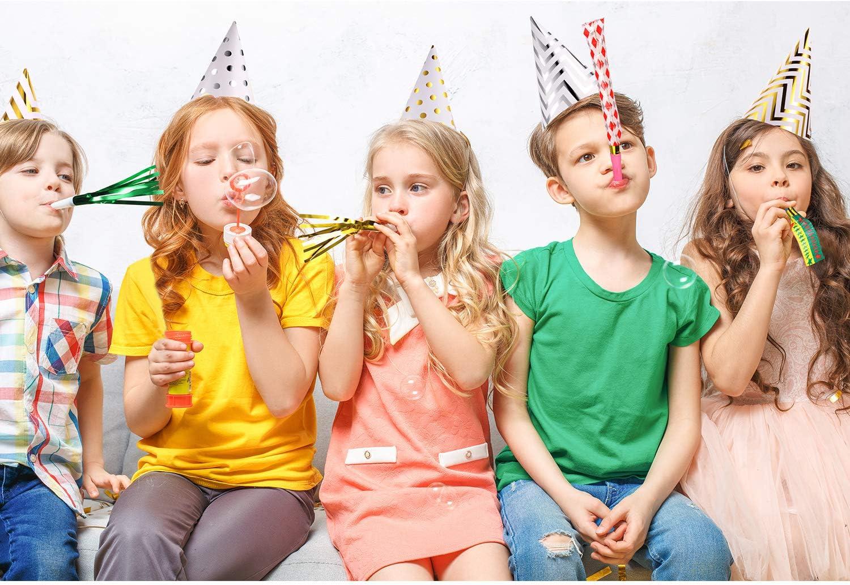 80 St/ück Bunte Party Gebl/äse Musikalische Blowouts Pfeifen Metallic Krachmacher Blowouts und 8 St/ück Geburtstag Party Kegel H/üte Folie Kegel H/üte f/ür Kinder