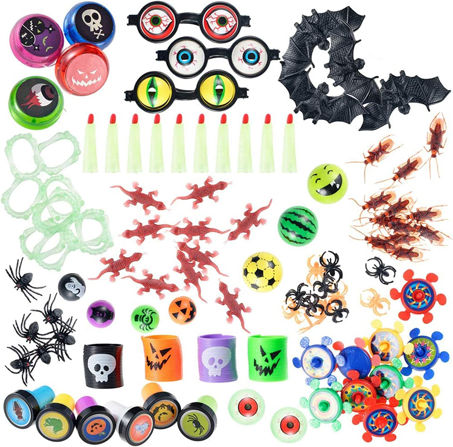 XADP 100 PCS Novelty Halloween Toys Assortment Halloween Party Favors Halloween Trick or Treat Prizes School Classroom Rewards for Kids Bulk Toys Pinata Fillers Carnival Prizes Goody Bags