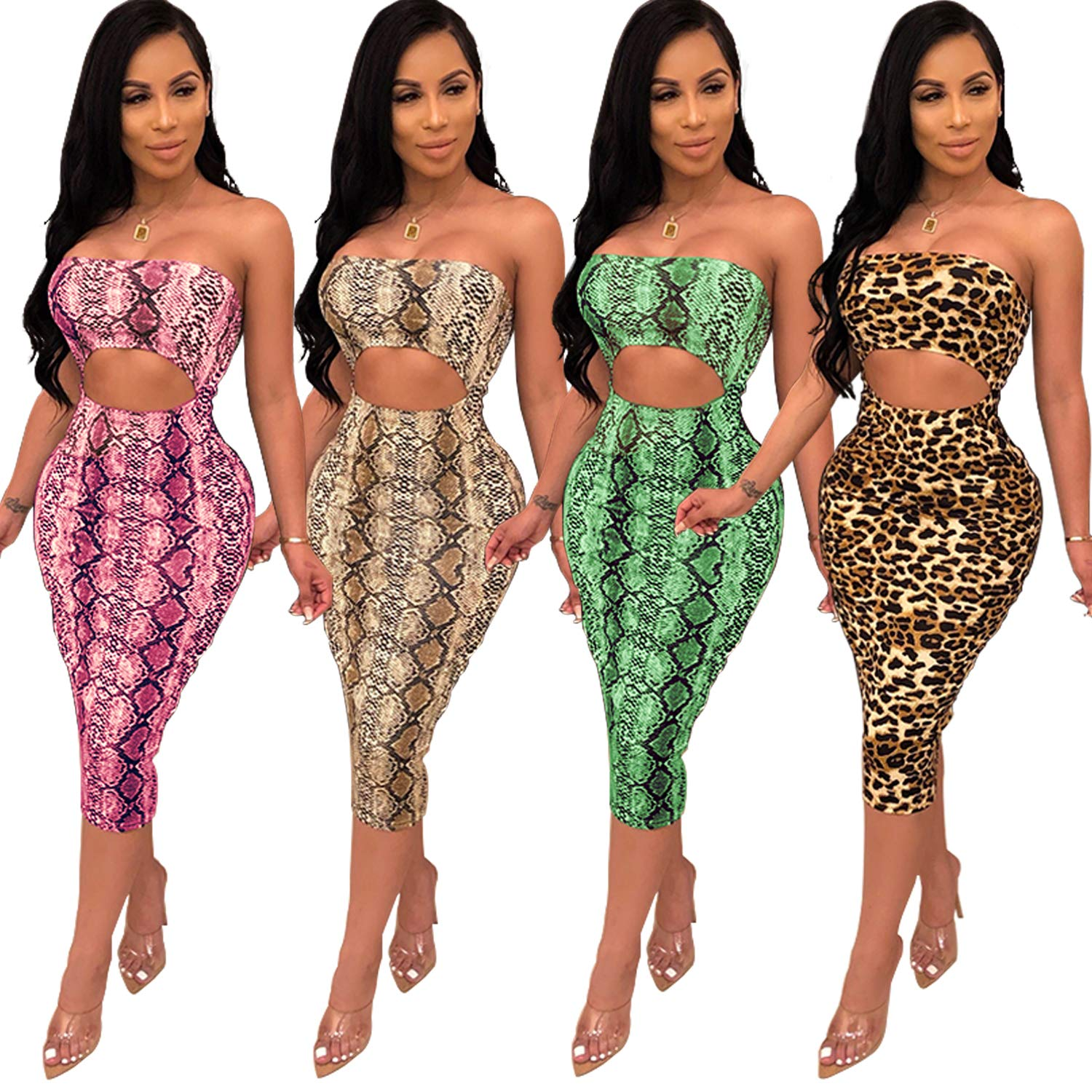 df04935c11f7 PORRCEY A Strapless Dress with a Sexy Serpentine Pattern at Amazon Women's  Clothing store: