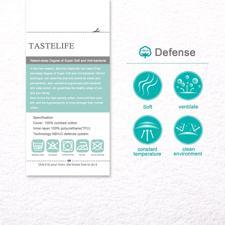 "TASTELIFE Cal King Waterproof Mattress Pad Protector Cover - Fitted 8"" - 21"" Deep Pocket - Hypoallergenic Vinyl Free"