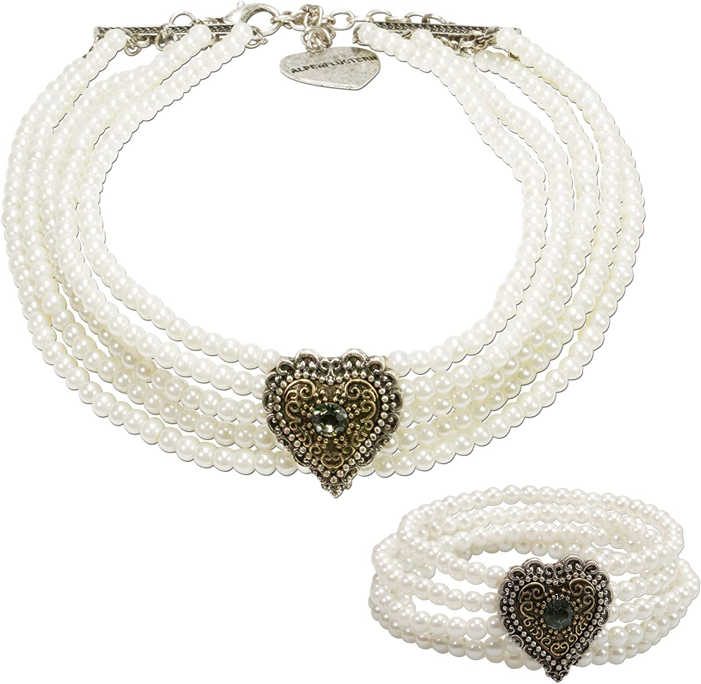 Juego de joyas con perlas Alpenflüstern, tradicional, joyas típicas con cadena y pulsera Margarethe, para mujer, con piedra con forma de corazón, color blanco crema, SET029
