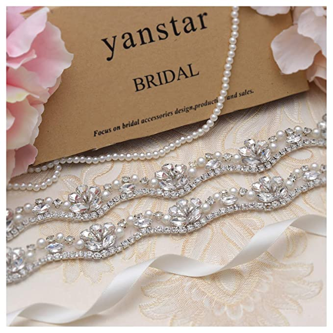 3819c1482478 Yanstar Silver Rhinestone Crystal Pearls Wedding Bridal Belts With Ivory  Ribbon Sashes For Bridal Bridesmaid Gowns