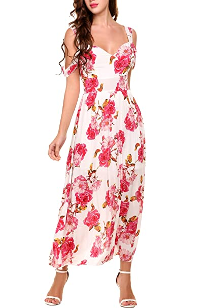 2891886076e9 Meaneor Women s Boho Spaghetti Straps Floral Print Flowy Party Casual Maxi  Dress White S