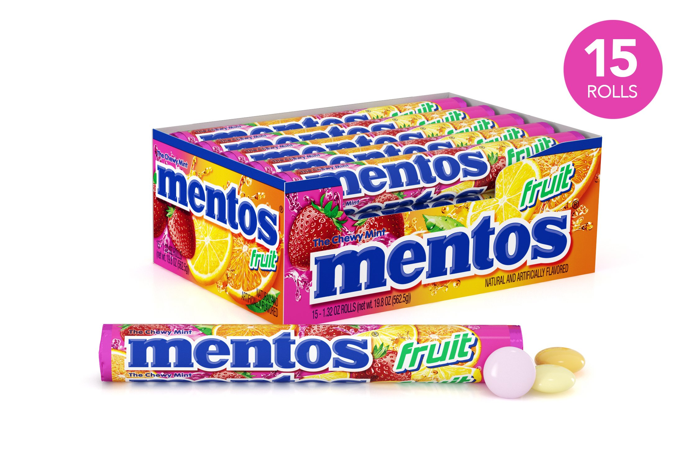 Mentos Chewy Mint Candy Roll, Fruit, Party, Non Melting, 1.32 ounce/14 Pieces (Pack of 15)