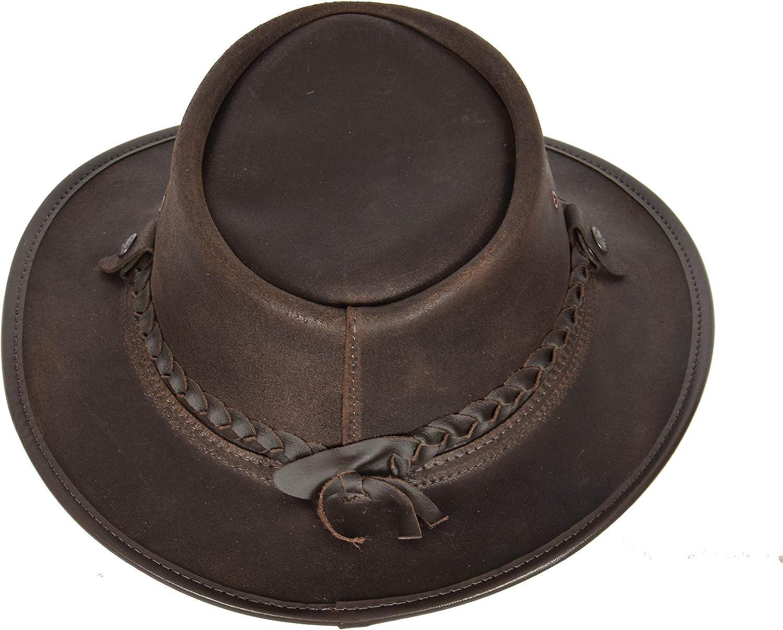 A1 FASHION GOODS Authentischer Australischer Bush-Lederhut BRAUN Reisende Bac Pac Gewachste Steerhide Cowboy Hut