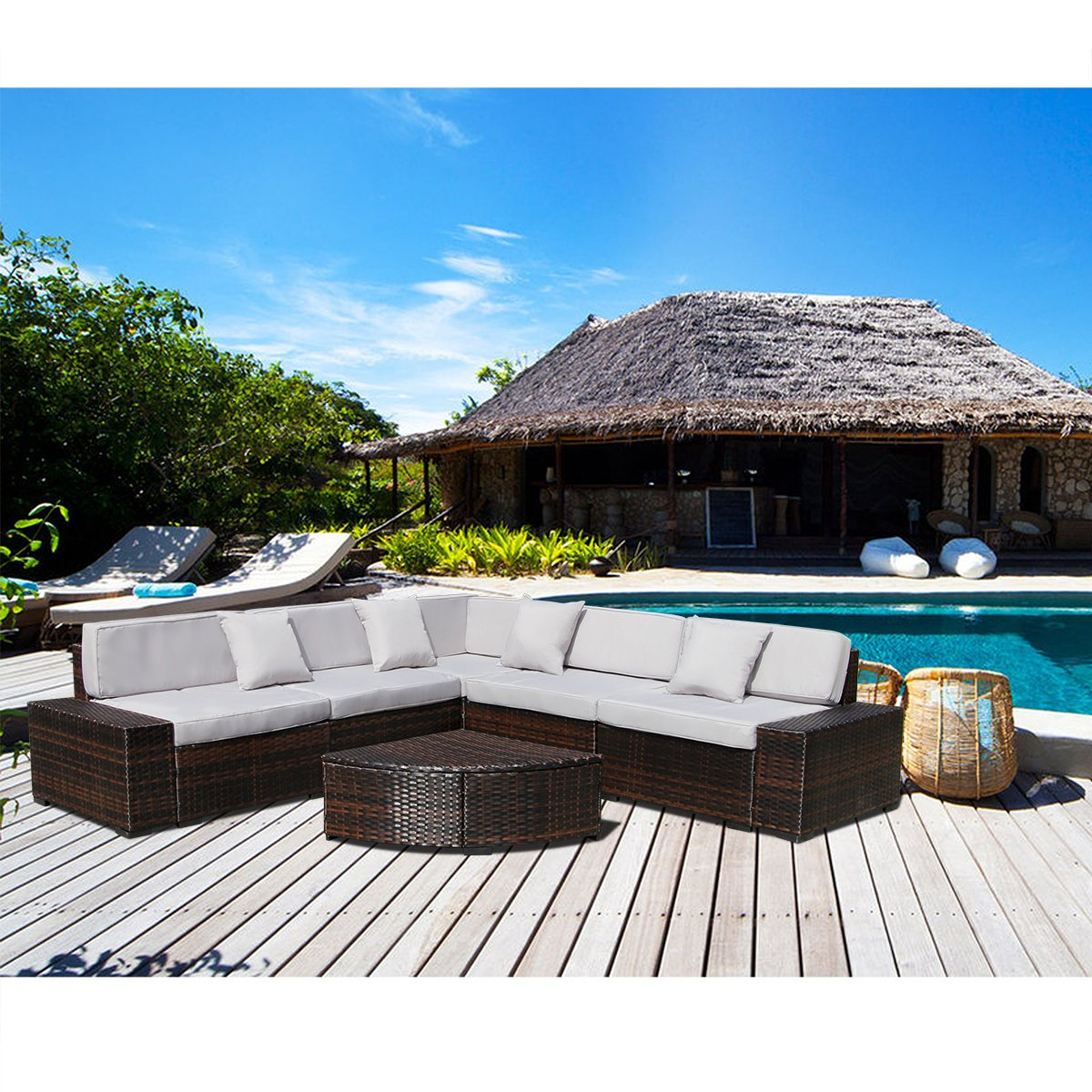 U-MAX 6 Pieces Patio PE Rattan Wicker Sofa Outdoor Sectional Patio Furniture Sets (Brown Rattan+Grey Pillows)