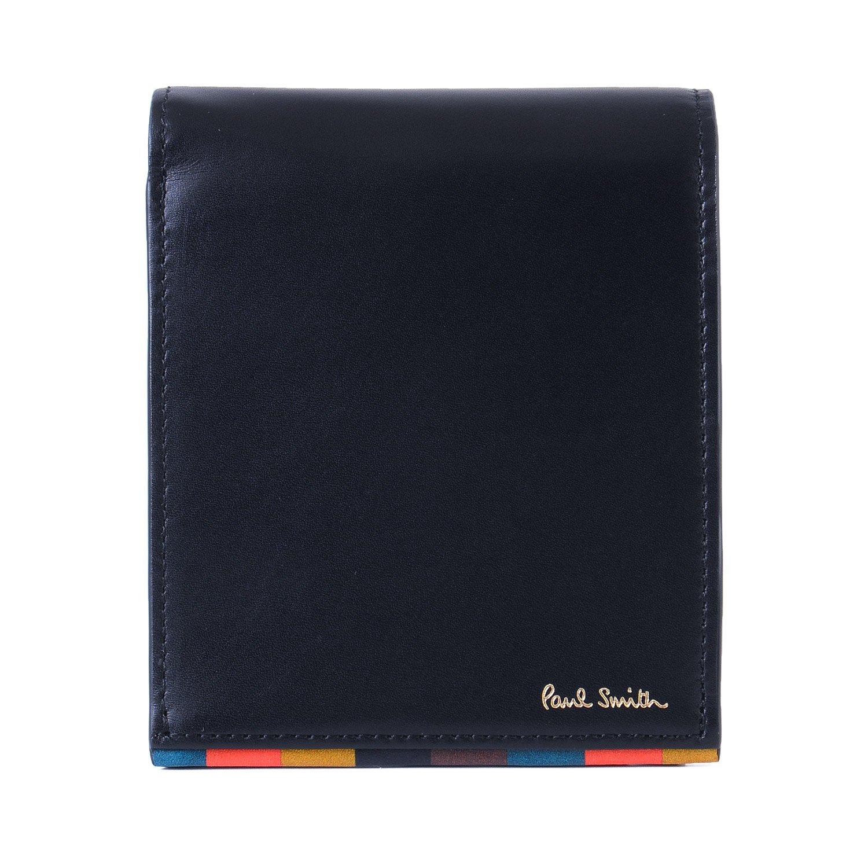 [名入れ可] (ポールスミス) Paul Smith ブライトストライプトリム 本革 二つ折り 財布 ショップバッグ付き ポールスミス レザー ウォレット B07BLQZQSR 名入れなし|ネイビー ネイビー 名入れなし