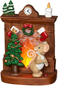 Roman - Charming Tails Collection, Lighted Fireplace Figure, 5.5