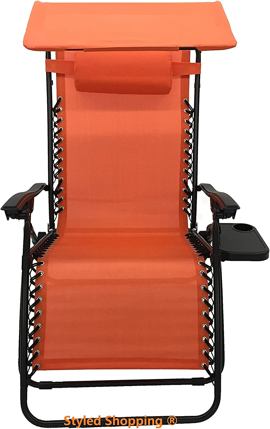 Deluxe Oversized Extra Large Zero Gravity Chair with Canopy + Tray - Orange