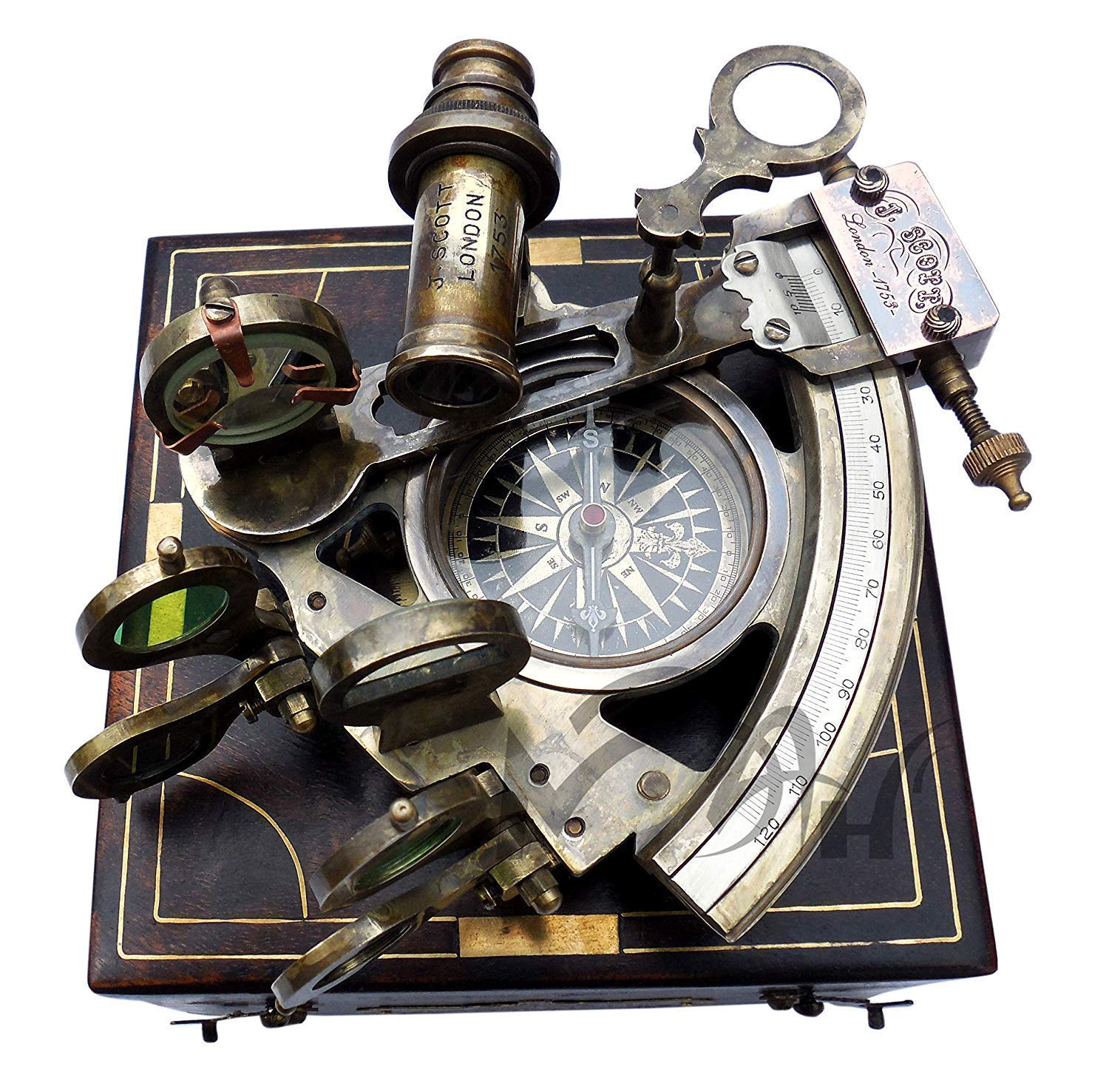 MAH Astrolabe Brass Sextant with Compass Hardwood Box. C-3250 by MAH