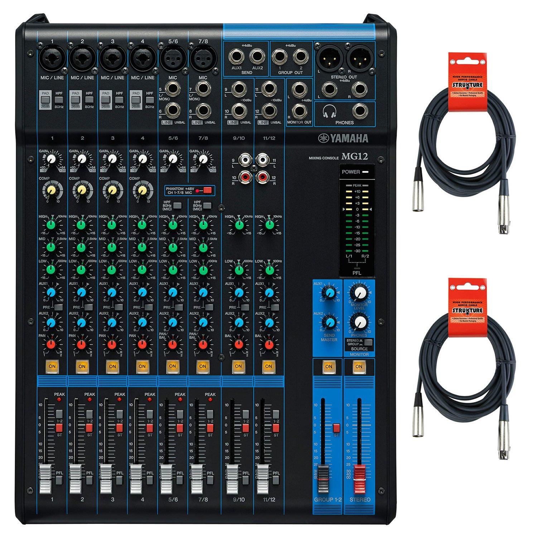 Yamaha MG12 12-Input 4-Bus Mixer w/ Cables