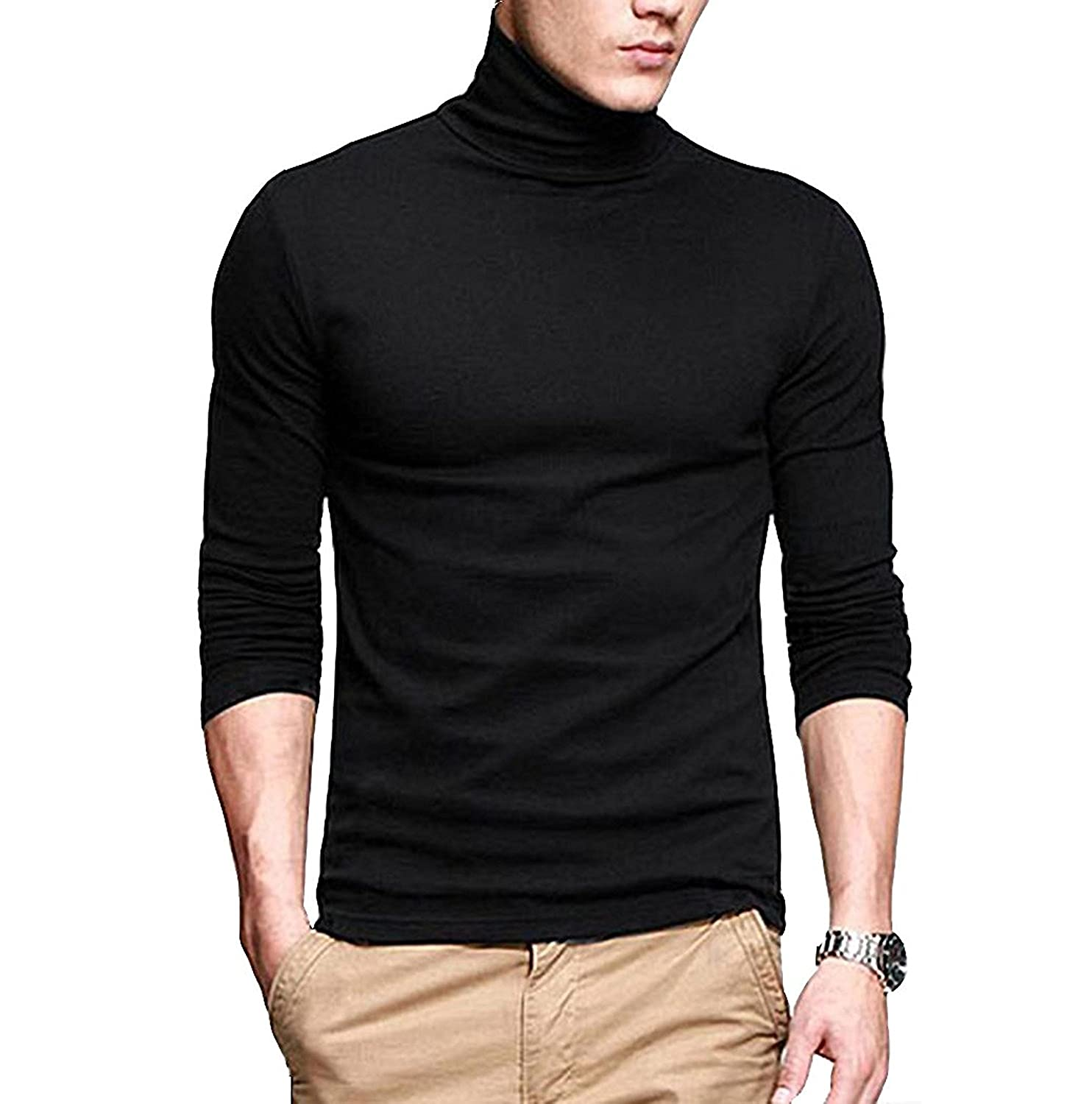 bcfccad8 PAUSE Men's High Neck Full Sleeve Neck Black Cotton T-Shirt: Amazon.in:  Clothing & Accessories