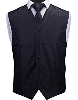 faa96145f3d0d GUSLESON 3pc Mens Paisley Vest Necktie Pocket Square Set Waistcoat for Suit  or Tuxedo