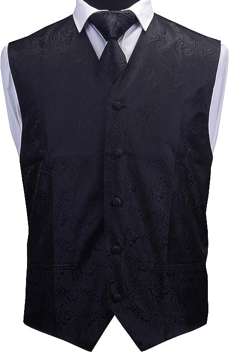 New Men/'s Paisley Tuxedo Vest Waistcoat /& necktie /& Bow tie /& Hankie dark gray