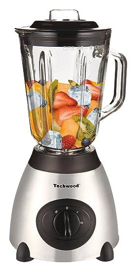 Techwood TBLI-360 - Batidora de vaso (De plástico, Acero inoxidable, Negro, Acero inoxidable, 500W)