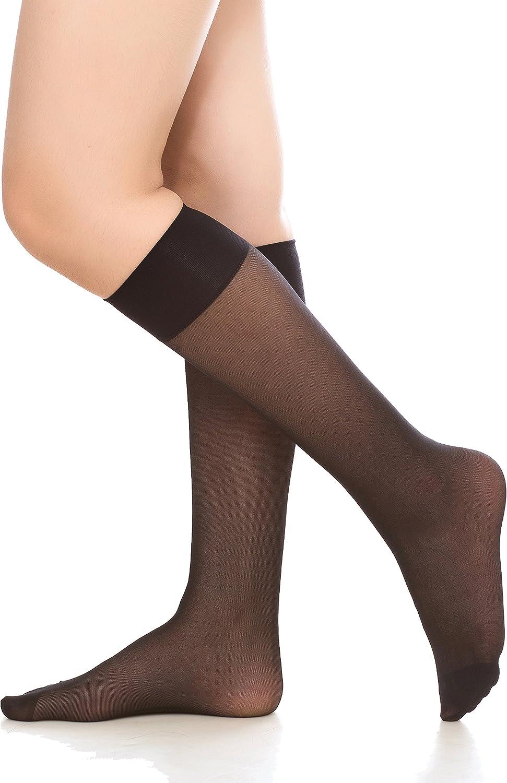 Womens 6 Pack Silky Sheer Knee High Trouser Socks Reinforced Toe