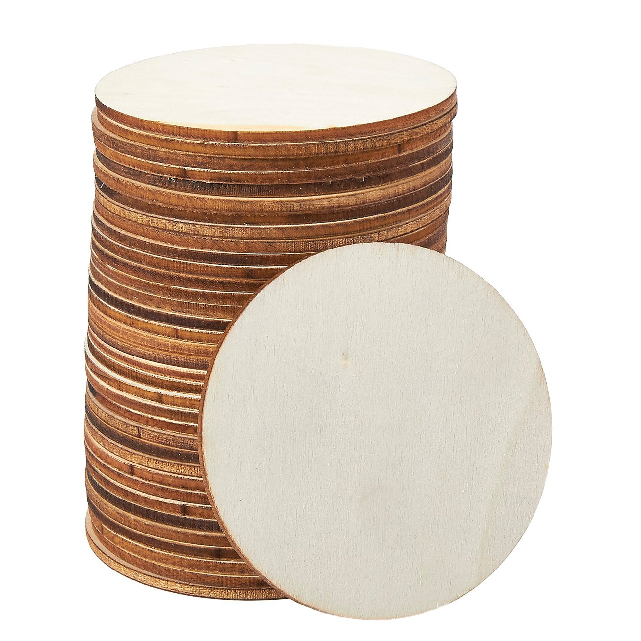 Unfinished Wood Slices - 100-Count Round Natural Rustic Wood Circles, Wooden Log Slices for DIY Craft, Wedding Decoration, Home DecorCenterpieces, 0.5-inch Diameter, 0.1 inch Thick Juvale