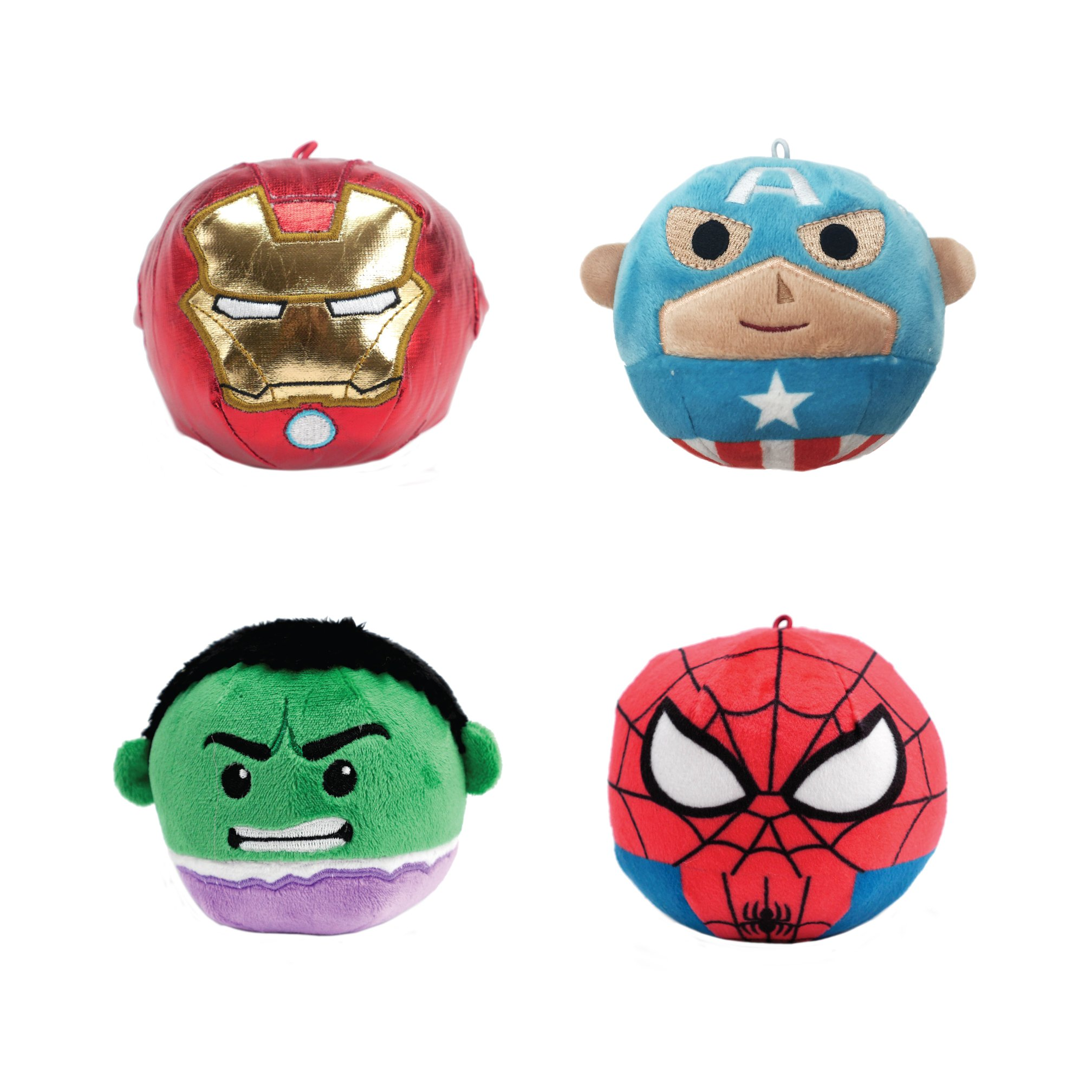 Marvel Fluffball Ornament 4 Pack - Spiderman, Captain America, The Hulk and Iron Man