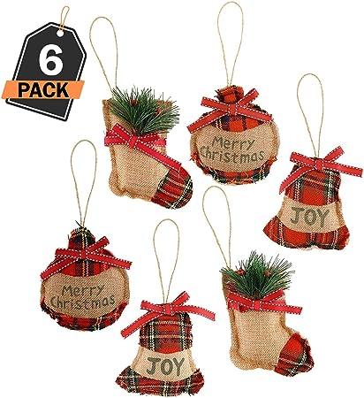 6 Ornamentos de Decoración para Árbol de Navidad – Accesorio Decorativo de Temporada para el Hogar – Detalle para Cajas de Regalo - Actividad de DIY Bricolaje – Arte y Manualidades – Adorno Navideño: Amazon.es: Hogar