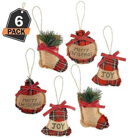 Oggetti Di Natale.Kompanion Set Da 6 Pezzi Ornamenti Albero Di Natale Decorazioni Natalizie Scatole Regalo Per La Casa Oggetti Fai Da Te