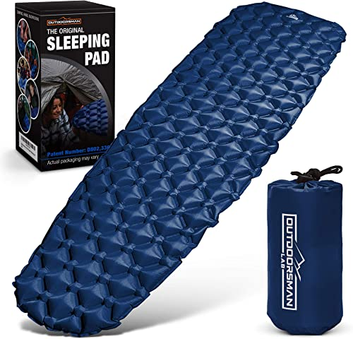 OutdoorsmanLab Ultralight Sleeping Pad – Ultra-Compact for Backpacking, Camping, Travel w Air-Support Cells Design Blue