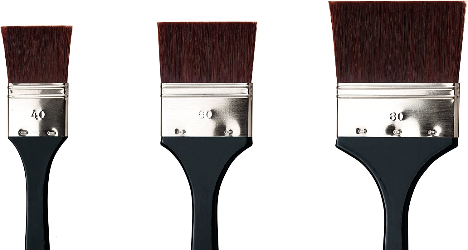 7385-35 Bright Red//Brown Synthetic with Long Ergonomic Handle da Vinci Oil /& Acrylic Series 7385 Top Acryl Paint Brush Size 24