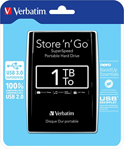 1TB Verbatim Store/'n/'Go USB3.0 Portable Hard Drive Silver