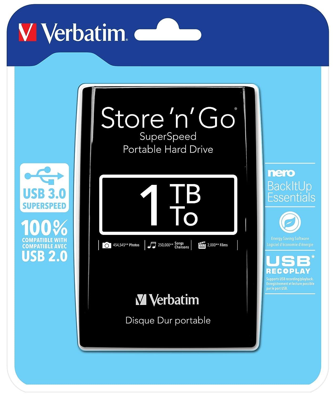 Verbatim - Disco duro externo (2,5', 750 GB, conexió n USB 3.0), color negro 5 conexión USB 3.0) VERBATIM CORPORATION 53176