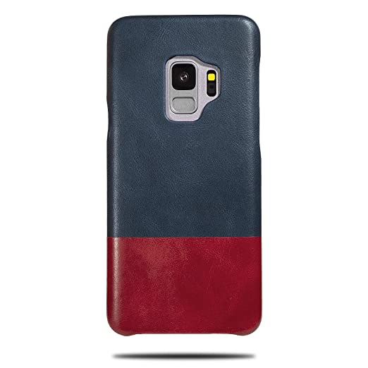 092942cc6 Amazon.com: Kulor Cases Samsung Galaxy S9 Leather Case (Peacock Blue &  Crimson Red), Handmade Premium Slim Fit Protective Cover Snap on Case for  Samsung ...