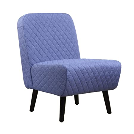 LSSBOUGHT Modern Muted Fabric Armless Chair Stylish Accent Chair Blue