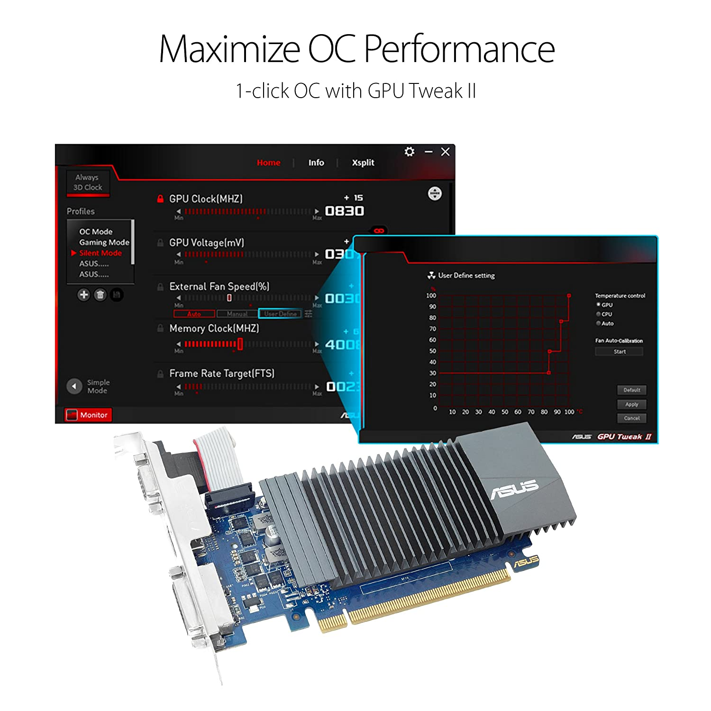 ASUS 710-1-SL NVIDIA GeForce GT 710 - Tarjeta gráfica (Pasivo, NVIDIA, GeForce GT 710, GDDR3, PCI Express 2.0, 2560 x 1600 Pixeles)