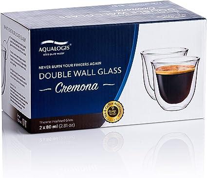 Espresso Doppia Parete Thermo Occhiali Set di 2 x CREMONA VETRO 80ml