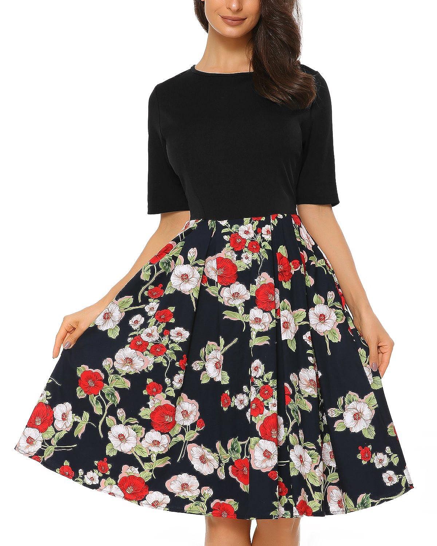 9a764c962431 ... A-line , floral print flare dress , Scoop neck , Both sides open pocket  , Stretch top , Swing dress , Knee length ,Vintage cocktail casual dress.